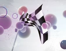 Racing Flag With Abstract Shape Stock Photo