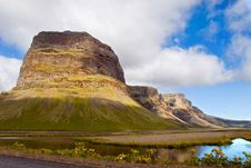 Mountain And Lake In Iceland Royalty Free Stock Photo