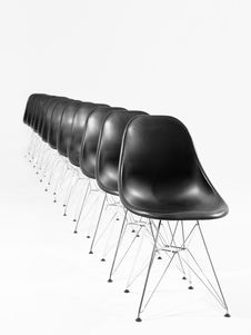 Free Black Chairs In A Row Royalty Free Stock Image - 16497136