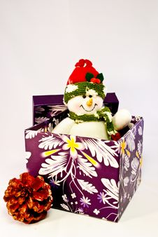 Free Snowman, Pine Cone And Purple Gift Ox Royalty Free Stock Images - 16497369