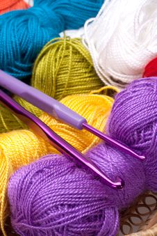 Free Basket With Thread And Balls For Knitting Stock Photos - 16497893