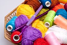 Free Basket With Thread And Balls For Knitting Royalty Free Stock Photos - 16497968