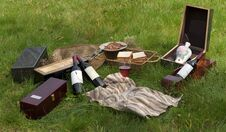 Picnic Scene: Wine Bottles
