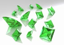 Set Of Square Green Topaz Stones - 3D Royalty Free Stock Image