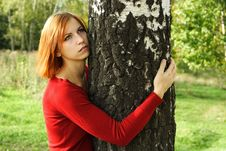 Free Girl In Red Dress Hug A Tree, Looking At Side Stock Photos - 16498693