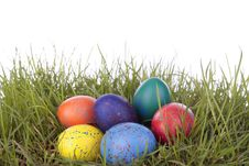 Free Colored Easter  Eggs On Grass Over White Royalty Free Stock Images - 16498699