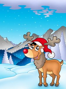 Free Christmas Theme With Cute Reindeer Stock Image - 16499061