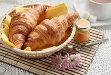 Free Breakfast With Croissants Royalty Free Stock Image - 16499996