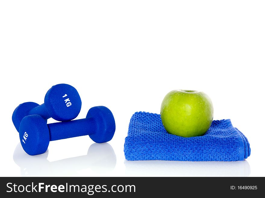 Blue weightlifting instruments
