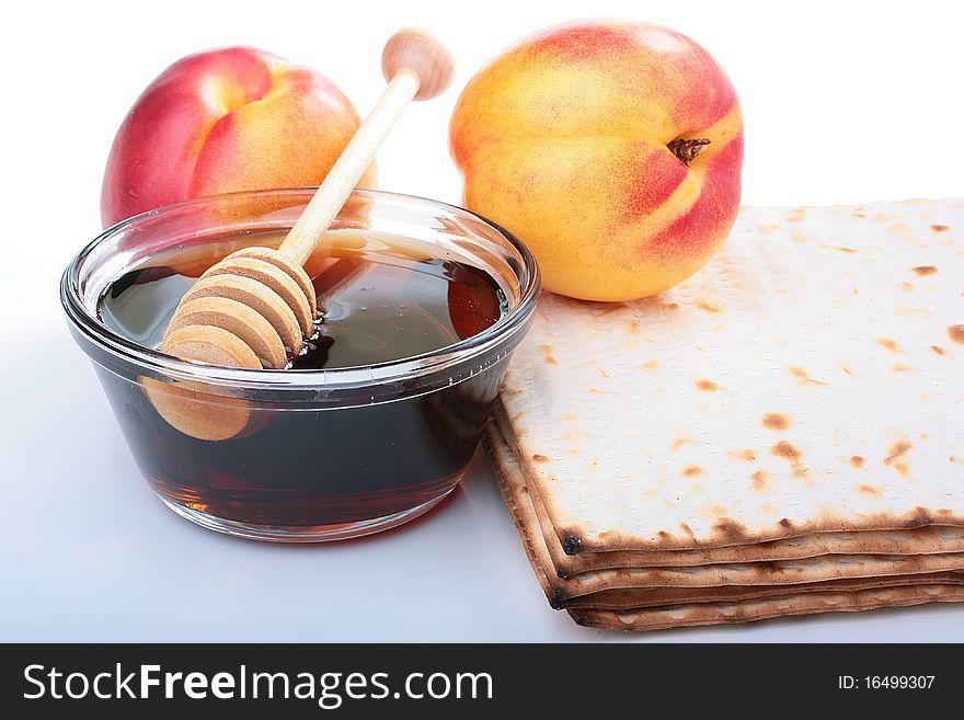 Matzah and nectarine