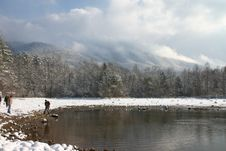 Lake And Mountians With Snow Stock Images