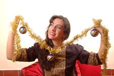 Free Woman And Christmas Decoration Royalty Free Stock Photography - 1655117