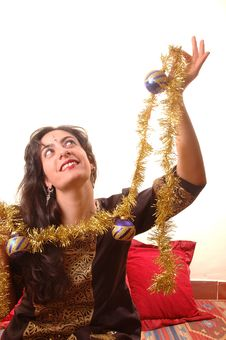 Free Woman And Christmas Decoration Royalty Free Stock Images - 1655199