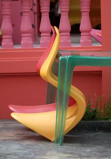 Free Two Plastic Chairs And A Table Royalty Free Stock Photo - 1656905