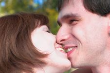 Free Happy Kissing Couple In The Autunm Forest Stock Image - 1656981