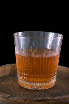 Free Glass Of Whiskey On A Barrel Royalty Free Stock Photography - 1657677