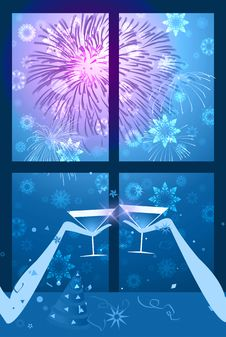 Free Celebration With Fireworks And Snowflakes - Blue Royalty Free Stock Image - 1659266