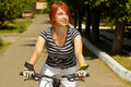 Free Young Adult Smiling Biker Woman On Mounting Bike Stock Photography - 16501502