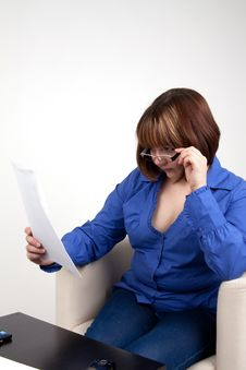 Free The Young Woman Attentively Studies The Contract Stock Photos - 16500123