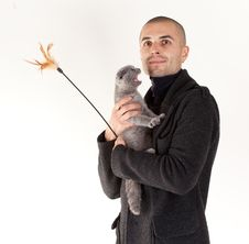 Free Man With Cat Royalty Free Stock Photography - 16500347