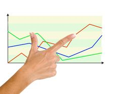 Finger Pointing To Charts Stock Photography