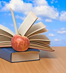 Free Red Apple And Books Stock Image - 16501771
