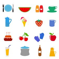 Free Food Drink Icons Royalty Free Stock Photography - 16503077
