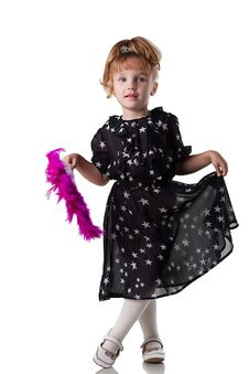 Little Girl Dances With A Fan Royalty Free Stock Photos