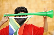 Free Encourager With Vuvuzela Royalty Free Stock Images - 16503639