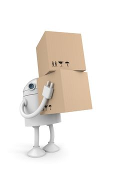 Free Robot With Cardboard Boxes Royalty Free Stock Photo - 16504915