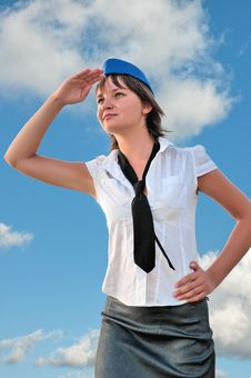 Free Attractive Woman Stewardess Looks Into The Distanc Stock Image - 16506141