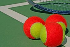 Free Three Tennis Balls And A Racket Royalty Free Stock Image - 16506326