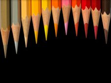 Eleven Hot Tone Color Pencil Royalty Free Stock Images