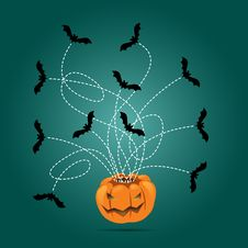 Halloween Carved Pumpkin And Flying Bats Royalty Free Stock Photo