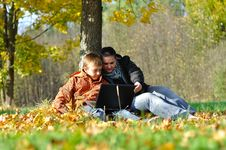 Free Kid And Woman With Notebook Stock Photography - 16509832