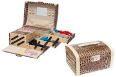 Open Jewelry Box And Closed Chest Stock Image