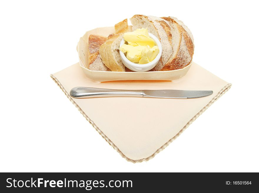 Crusty bread in a basket
