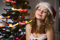 Free Beauty Woman In Santa Hat Royalty Free Stock Image - 16510466