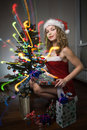 Free Beauty Woman In Santa Hat Royalty Free Stock Photos - 16510498