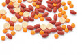 Free Orange Red And Pink Pills Isolated On White Royalty Free Stock Photo - 16514945