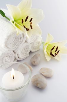 White Towels And Flower, Candle Stock Image