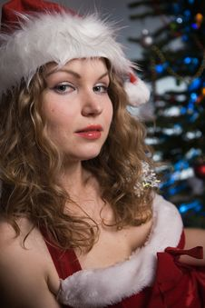 Free Beauty Woman In Santa Hat Stock Photography - 16510492