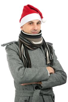 Free Handsome Young Man In Santa Hat Stock Photo - 16510540