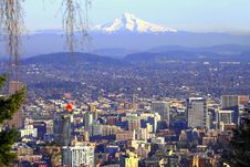 Free Mt. Hood & Portland Panorama. Royalty Free Stock Photography - 16510957