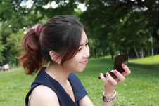 Free Young Adult Woman Look Mirror Stock Image - 16511711