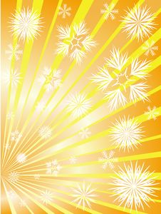 Free Golden Fireworks From Snowflakes Stock Images - 16511734