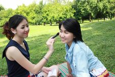 Free Beautiful Girls Helping Their Friend To Makeup Stock Photography - 16511832