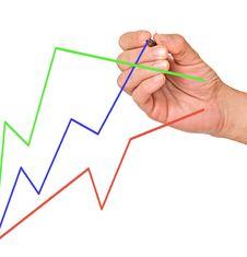 Man Drawing Colorful Charts Royalty Free Stock Photography