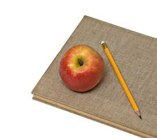 Free Red Apple And Pencil On Books Stock Images - 16512544