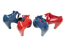 Female Blue And Red Shoes   Isolated Stock Photos